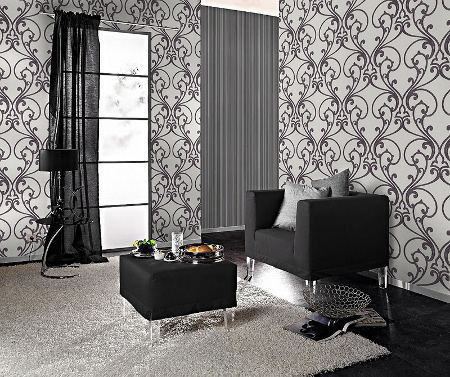 rasch tapete glamour 2014 404609 ornament glitter silber 3. Black Bedroom Furniture Sets. Home Design Ideas