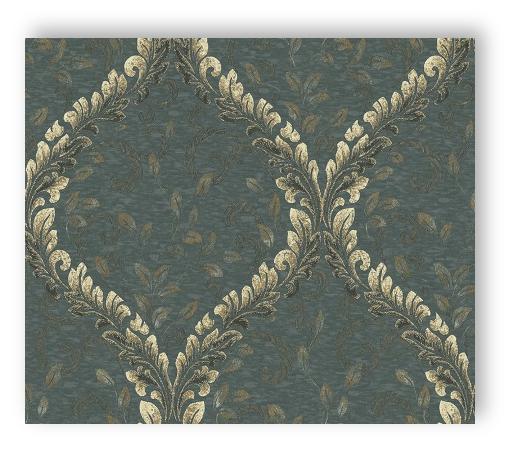 Rasch wallpaper angelica 005316 textil vinyl green - Rasch ornament tapete ...