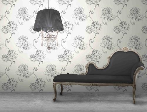 Rasch Textil Tapeten Verarbeiten : Rasch Papel Pintado Bellezza 067370 Textil Flores negro plata Tejido