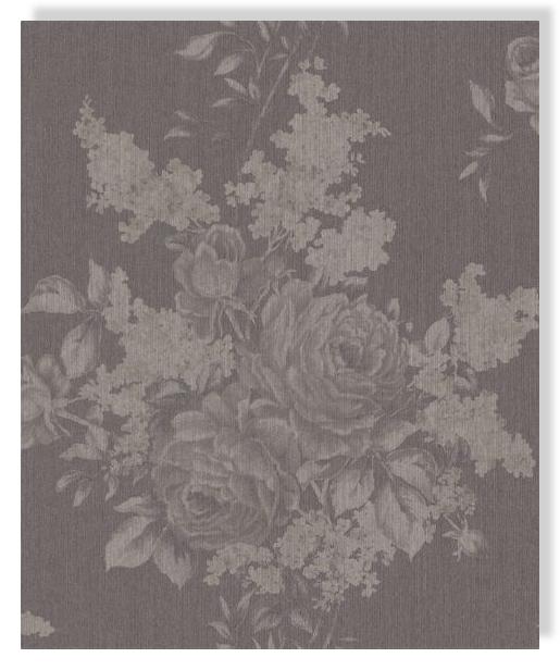 Rasch textil tapete cassata 077529 marr n rosas papel de for Papel pintado marron oscuro