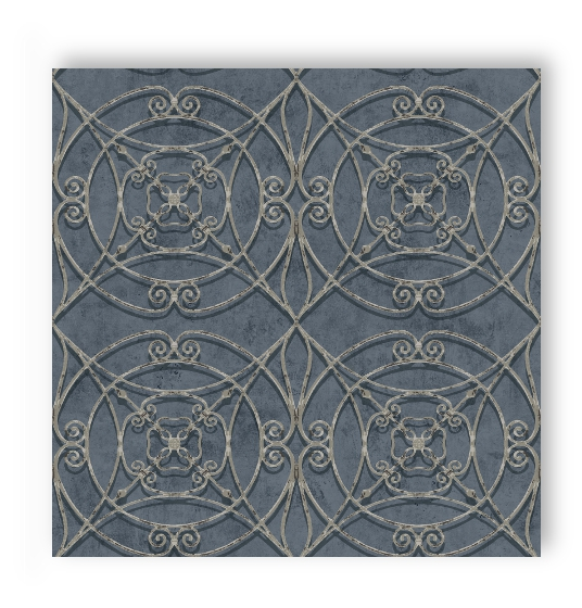 Smita papel pintado tu 17553 tuscany adorno grande azul for Papel pintado azul y plata